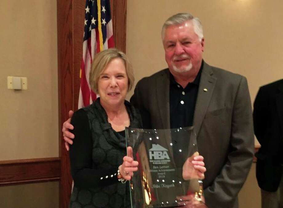The Home Builders Association of Midland recently awarded the 2018 Ben Lerner Lifetime Achievement Award to Mike Kozuch, KJP Sales, Inc. (Photo provided)