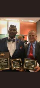 Atascocita's Kenyon Green was named the Offensive Player of the Year at the Touchdown Club of Houston's 2018 UIL High School Awards Dinner on Wednesday night. Eagles head coach Craig Stump was a finalist for Coach of the Year.