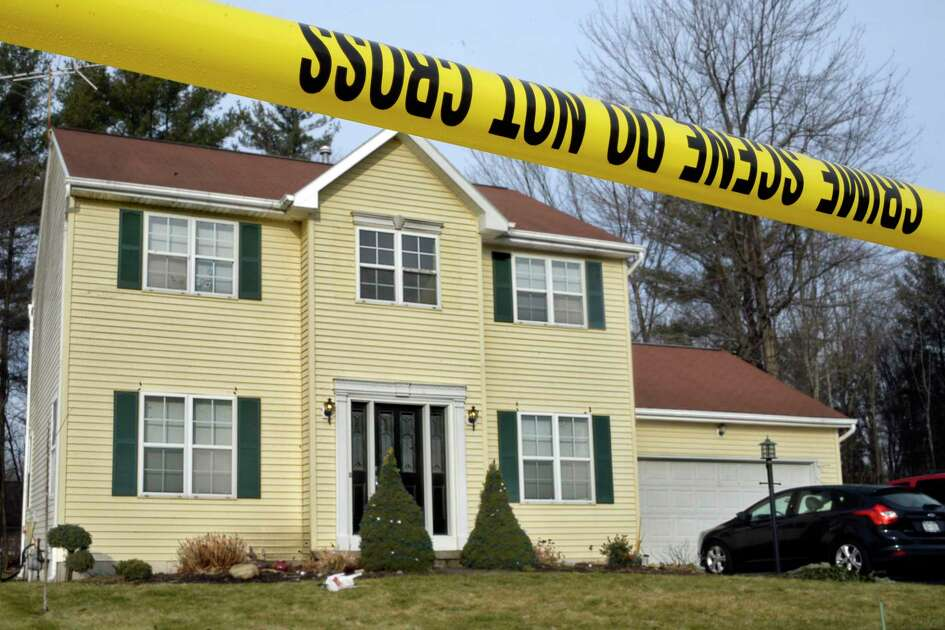 Crime scene tape surrounds 723 Adams Circle Saturday Dec. 15, 2018 in Ballston Spa, NY. Three bodies were discovered inside the single-family home on Friday. (John Carl D'Annibale/Times Union)