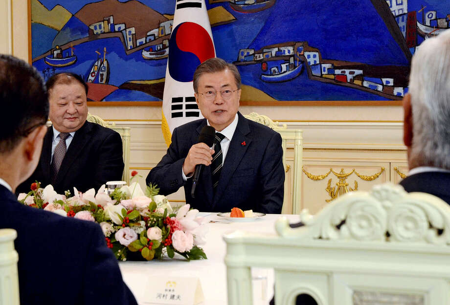 South Korean President Moon Jae In speaks during a meeting with members of the Japan-Korea Parliamentarians' Union at the South Korean presidential office on Friday. Photo: The Japan News-Yomiuri / The Japan News-Yomiuri