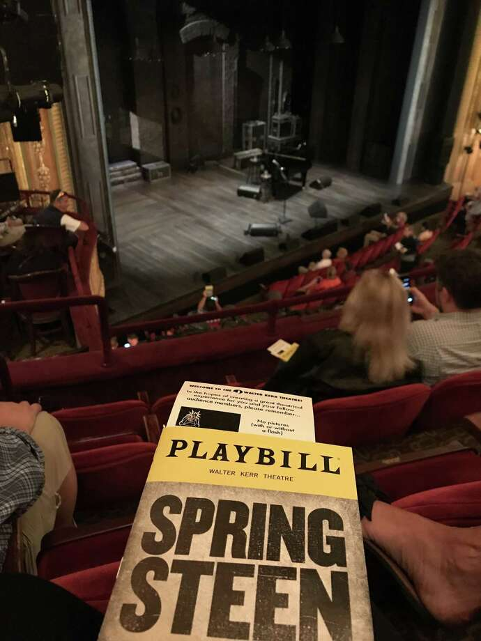 """A view of the stage for """"Springsteen on Broadway"""" at the Walter Kerr Theatre. Photo: Denise Bennett / TNS / Los Angeles Times"""