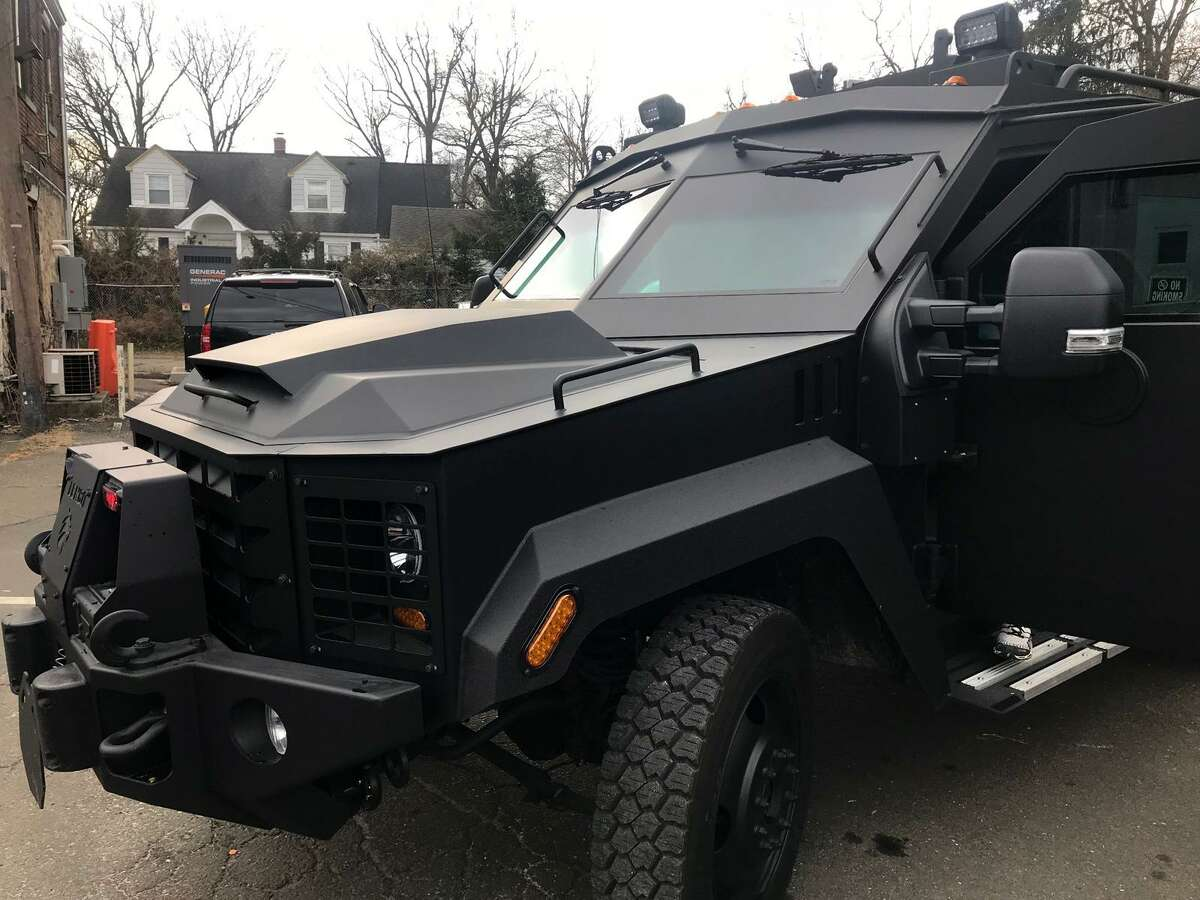 The Stamford police department?'s new BearCat armored personnel carrier. The nine-ton vehicle, capable of carrying 10 officers and costing $230,000, was paid for with asset forfeiture funds and $25,000 in donations through the Stamford Police Foundation.