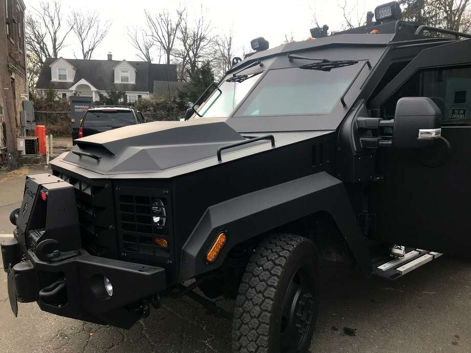 The Stamford police department's new BearCat armored personnel carrier. The nine-ton vehicle, capable of carrying 10 officers and costing $230,000, was paid for with asset forfeiture funds and $25,000 in donations through the Stamford Police Foundation. Photo: John Nickerson / File Photo / Hearst Connecticut Media