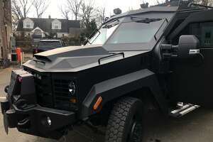 The Stamford police department's new BearCat armored personnel carrier. The nine-ton vehicle, capable of carrying 10 officers and costing $230,000, was paid for with asset forfeiture funds and $25,000 in donations through the Stamford Police Foundation.