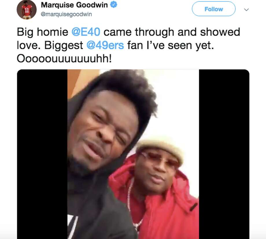 E-40 visited the 49ers on head coach Kyle Shanahn's birthday. Photo: Marquise Goodwin/Twitter