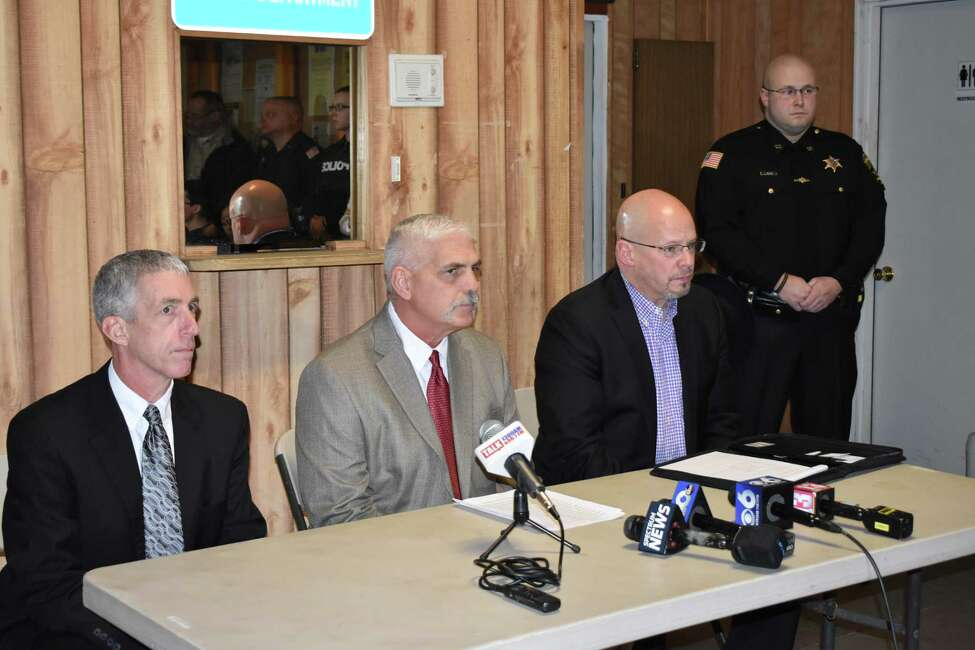 Lt. William Williams with State Police Troop G, Bureau of Criminal Investigation, left, alongside Ballston Spa Police Chief Dave Bush, middle, andBallston Spa Central School District SuperintendentKen Slentz at the Ballston Spa police department Saturday, Dec. 15, 2018, discussed the deaths of Steven and Jennifer Jones and their daughter, Emma Jones.