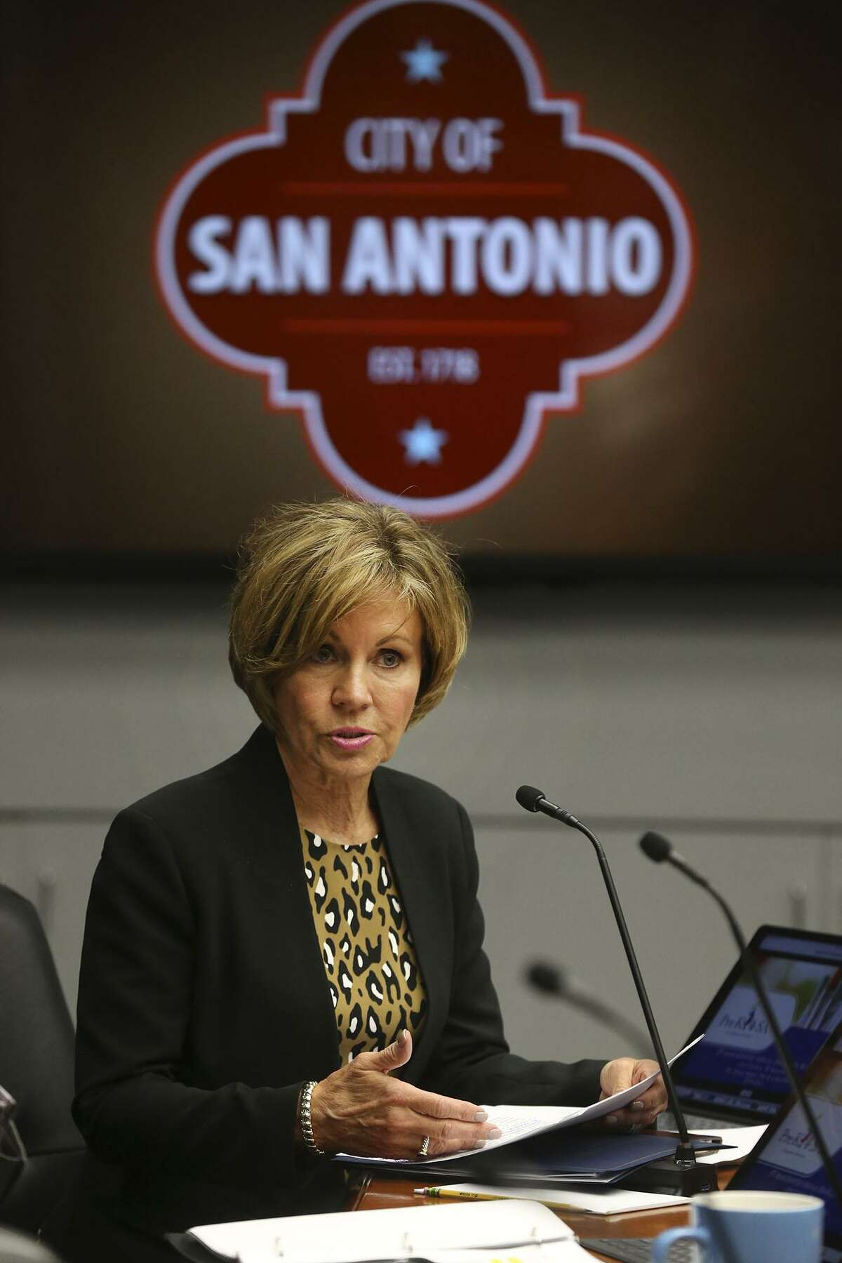 San Antonio City Manager City Sheryl Sculley speaks about the Pre-K 4 SA program Wednesday May 9, 2018 to the San Antonio city council about the 2019 annual budget. The $47.3 million budget is funded by a 1/8th cent sales tax. Pre-K 4 SA is a full-day prekindergarten program that also offers free afterschool care until 6:00 p.m.