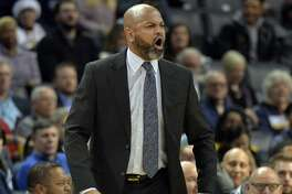 Memphis Grizzlies head coach J.B. Bickerstaff reacts to a referee's call in the first half of an NBA basketball game against the Portland Trail Blazers on Wednesday, Dec. 12, 2018, in Memphis, Tenn. (AP Photo/Brandon Dill)