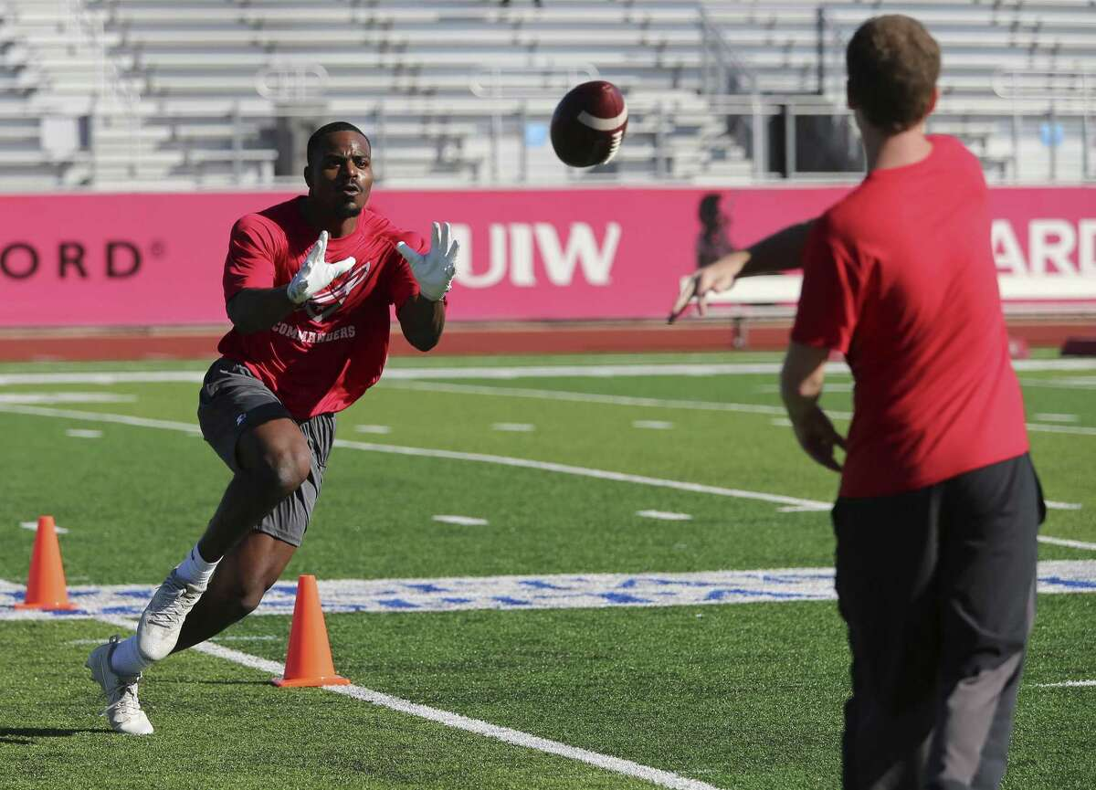 Wide receiver Carl Whitley take part in drills as the San Antonio Commanders hold mini-camp at UIW Tom Benson Football Stadium on Thursday, Dec. 13, 2018. The Commanders are part of the newly created Alliance of American Football league which will kick off with eight teams starting on February 9. The Commanders' home games will be held at the Alamodome and are expected to play 10 games in the regular season. The team is overseen by General Manager Daryl Johnston who is a former Dallas Cowboys fullback. Head coach is Mike Riley who formerly coached the San Antonio Riders from 1991-1992. (Kin Man Hui/San Antonio Express-News)