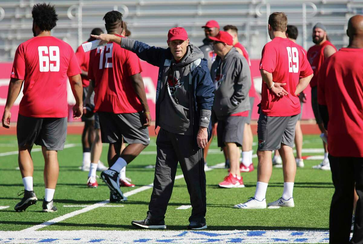 Head coach Mike Riley directs practice during the San Antonio Commanders mini-camp at UIW Tom Benson Football Stadium on Thursday, Dec. 13, 2018. The Commanders are part of the newly created Alliance of American Football league which will kick off with eight teams starting on February 9. The Commanders' home games will be held at the Alamodome and are expected to play 10 games in the regular season. The team is overseen by General Manager Daryl Johnston who is a former Dallas Cowboys fullback. Head coach is Mike Riley who formerly coached the San Antonio Riders from 1991-1992. (Kin Man Hui/San Antonio Express-News)
