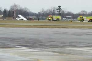 A plane was damaged during a landing Dec. 15, 2018. (Brian Houle / Special to the Times Union)