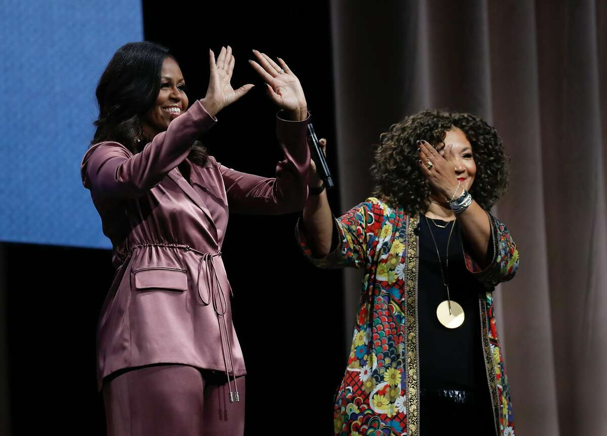 """Michelle Obama appears at SAP Center on Friday, Dec. 14, 2018, in San Jose, Calif. Obama participated in an onstage conversation with Michelle Norris as part of her book tour for her memoir, """"Becoming."""""""