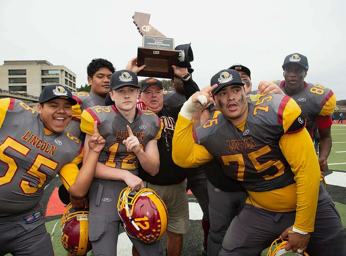 Lincoln football players - here celebrating the 2018 state 6-A Bowl championship at City College of San Francisco - are still hoping to get a chance to play for a third consecutive state title.