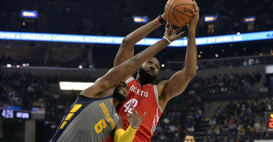 Houston Rockets center Nene Hilario (42) and Memphis Grizzlies guard Shelvin Mack (6) in the first half of an NBA basketball game Saturday, Dec. 15, 2018, in Memphis, Tenn. (AP Photo/Brandon Dill) Photo: Brandon Dill/Associated Press