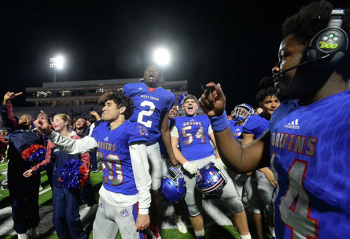 West Brook's Bruins celebrate as they line up in front of their fans after defeating Austin Westlake 35 - 30 in the Class 6A state semifinals at Legacy Stadium. Photo taken Saturday, December 15, 2018 Kim Brent/The Enterprise