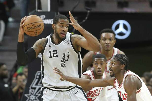 LaMarcus Aldridge pivots in the lane as the Spurs host the BULLS at the AT&T Center on December 15, 2018.