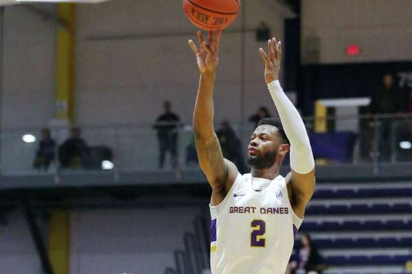 UAlbany guard Ahmad Clark shoots a three-pointer during a game against Dartmouth Saturday, Dec. 15, 2018 at the SEFCU Arena. (Phoebe Sheehan/Special to the Times Union)