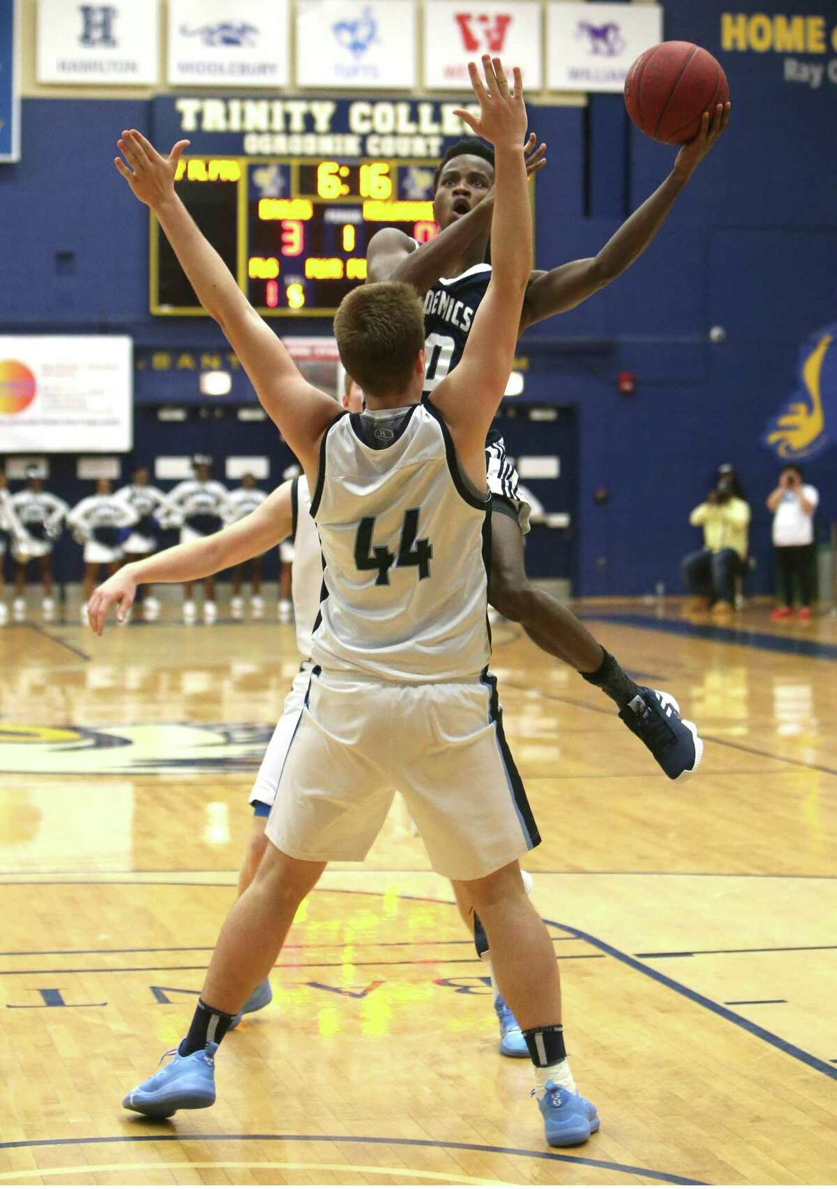 Hillhouse High School?'s #20 goes up for a basket during the GHPA High School Basketball Classic against East Catholic High School at Trinity College in Hartford on Saturday, Dec. 15, 2018.