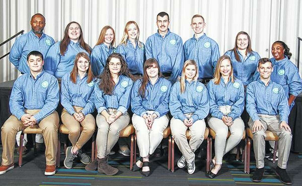 Anne Becker (front row, center) of Jacksonville was among 13 University of Illinois Extension 4-H teens who recently attended the five-day National 4-H Congress in Atlanta. The teens received the State 4-H Award, and the Illinois 4-H Foundation provided support for the youths to attend the national conference as part of that recognition. Among the speakers at the conference was John Beede, who has climbed Mount Everest and challenged the delegates, saying,