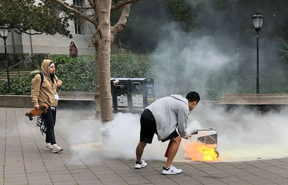 A KiwiBot delivery robot caught on fire at UC Berkeley on Dec. 14, 2018. Photo: ALEXANDRA STASSINOPOULOS/STAFF