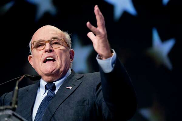 """FILE - In this May 5, 2018, file photo, Rudy Giuliani, an attorney for President Donald Trump, speaks at the Iran Freedom Convention for Human Rights and democracy in Washington. Giuliani is categorically ruling out the possibility of a presidential interview with special counsel Robert Mueller. Giuliani told """"Fox News Sunday"""" that an interview would happen """"over my dead body."""""""