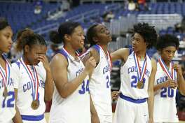 Cypress Creek at the end of the game as they get their medals. Plano v Cypress Creek in a UIL girls basketball Class 6A on Friday, March 2, 2018 at the Alamodome. (Ronald Cortes/Special Contributor) f