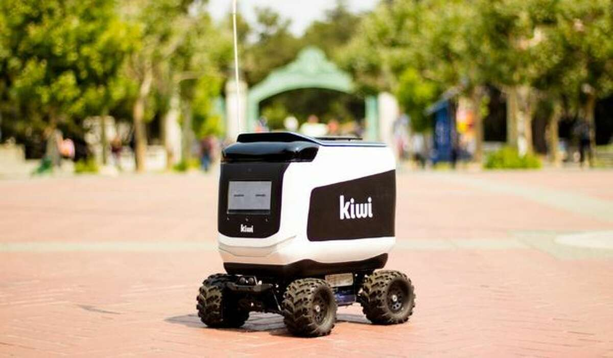 A Kiwibot robot in action on the UC Berkeley campus.