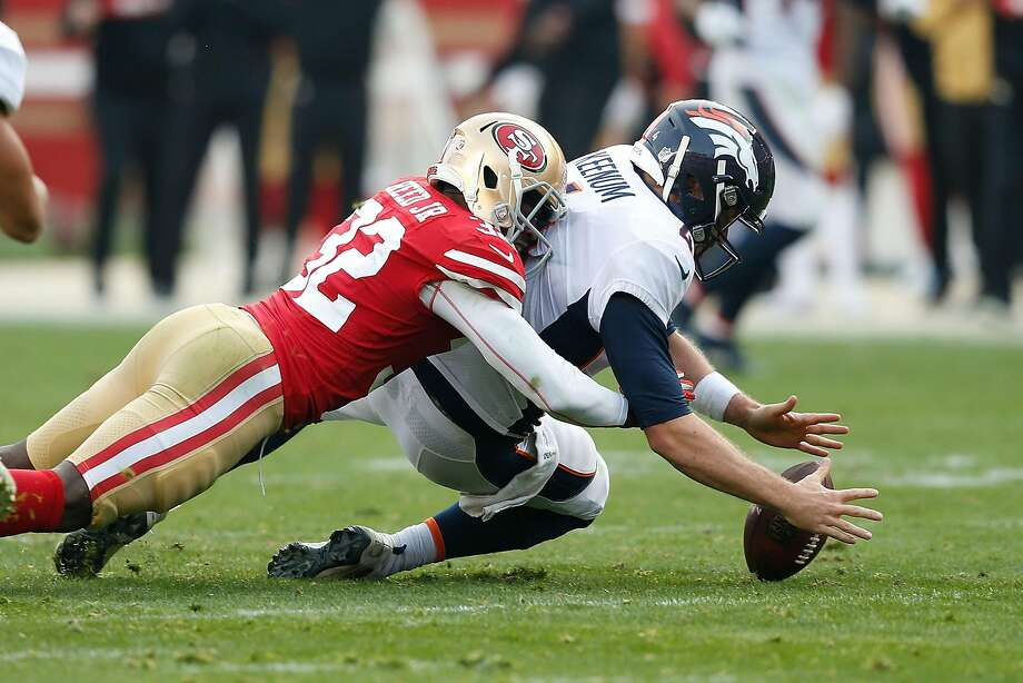 SANTA CLARA, CA - DECEMBER 09: Quarterback Case Keenum #4 of the Denver Broncos fumbles the ball while being sacked by D.J. Reed #32 of the San Francisco 49ers at Levi's Stadium on December 9, 2018 in Santa Clara, California. (Photo by Lachlan Cunningham/Getty Images) Photo: Lachlan Cunningham / Getty Images