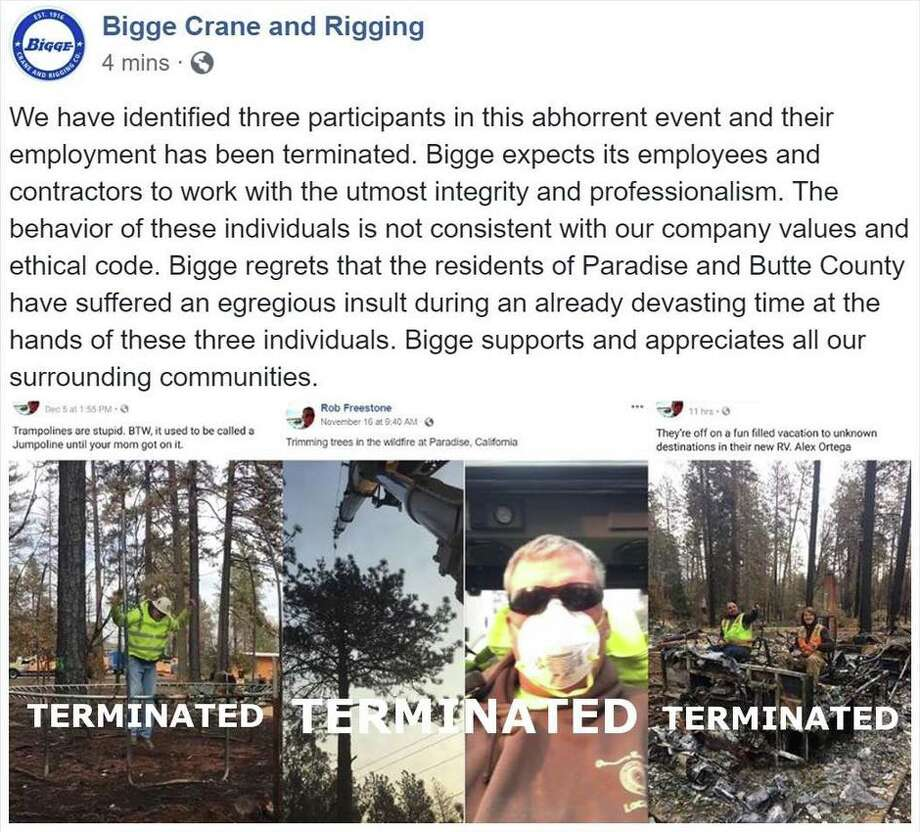 A Bay Area construction company has fired three of its cleanup workers after photos of them posing insensitively on the Camp Fire debris surfaced online. Photo: Facebook