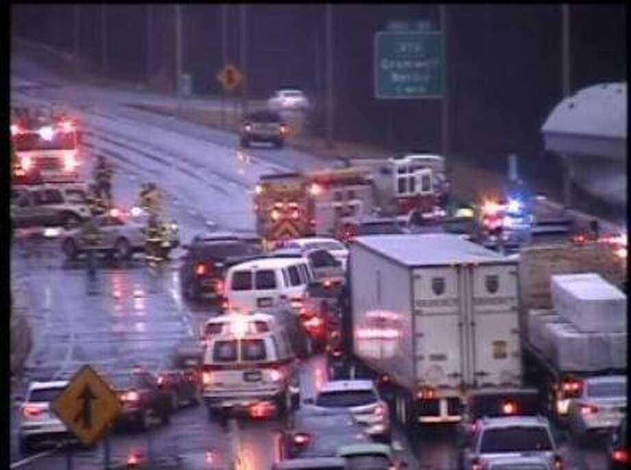 An accident involving an overturned vehicle closed a portion of I-91 south in Cromwell Sunday. Photo: Department Of Transportation Camera