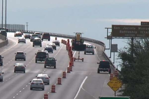 Two outside lanes on Interstate 610 East Loop southbound from the Port of Houston to Manchester were closed Sunday for inspection of the Houston Ship Channel Bridge.