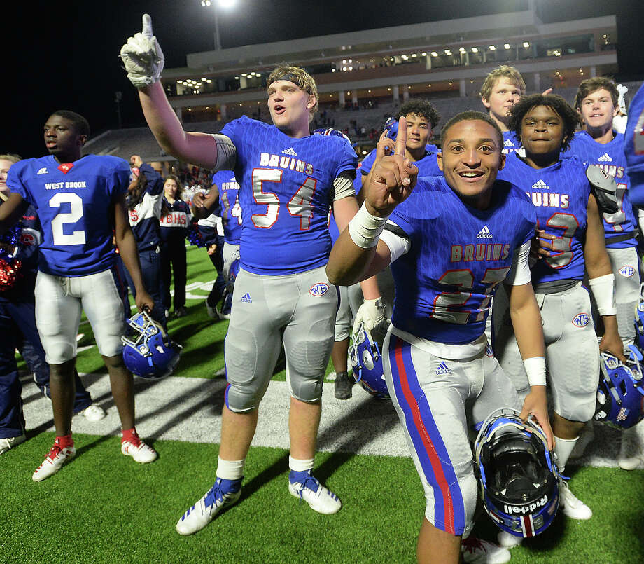 West Brook's Bruins celebrate after defeating  Austin Westlake 35 - 30 in the Class 6A state semifinals at Legacy Stadium. Photo taken Saturday, December 15, 2018 Kim Brent/The Enterprise Photo: Kim Brent/The Enterprise