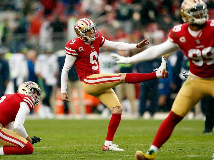 San Francisco 49ers' Robbie Gould follows through on a 2nd quarter field goal against Seattle Seahawks during NFL game at Levi's Stadium in Santa Clara, Calif. on Sunday, December 16, 2018.