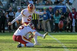 Redskins kicker Dustin Hopkins hits a game-winning field goal as time expires against the Jaguars for a 16-13 victory Sunday in Jacksonville, Fla.
