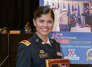 New York Army National Guard Capt. Elsa Canales, a logistics officer, was recognized by Latina Style Magazine for her military accomplishments during a Sept. 6 award ceremony in Arlington, Va. ( Photo courtesy Latina Style Magazine)