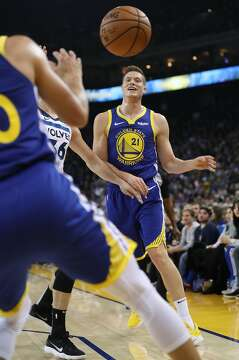 2of13Golden State Warriors  Jonas Jerebko passes during 116-108 win over  Minnesota Timberwolves in NBA game at Oracle Arena in Oakland d34d15c81