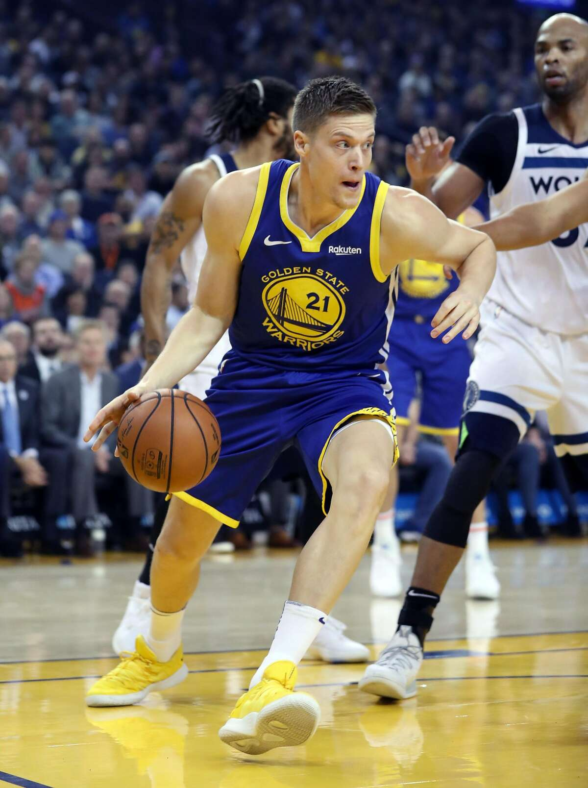 Golden State Warriors' Jonas Jerebko during 116-108 win over Minnesota Timberwolves in NBA game at Oracle Arena in Oakland, Calif. on Monday, December 10, 2018.