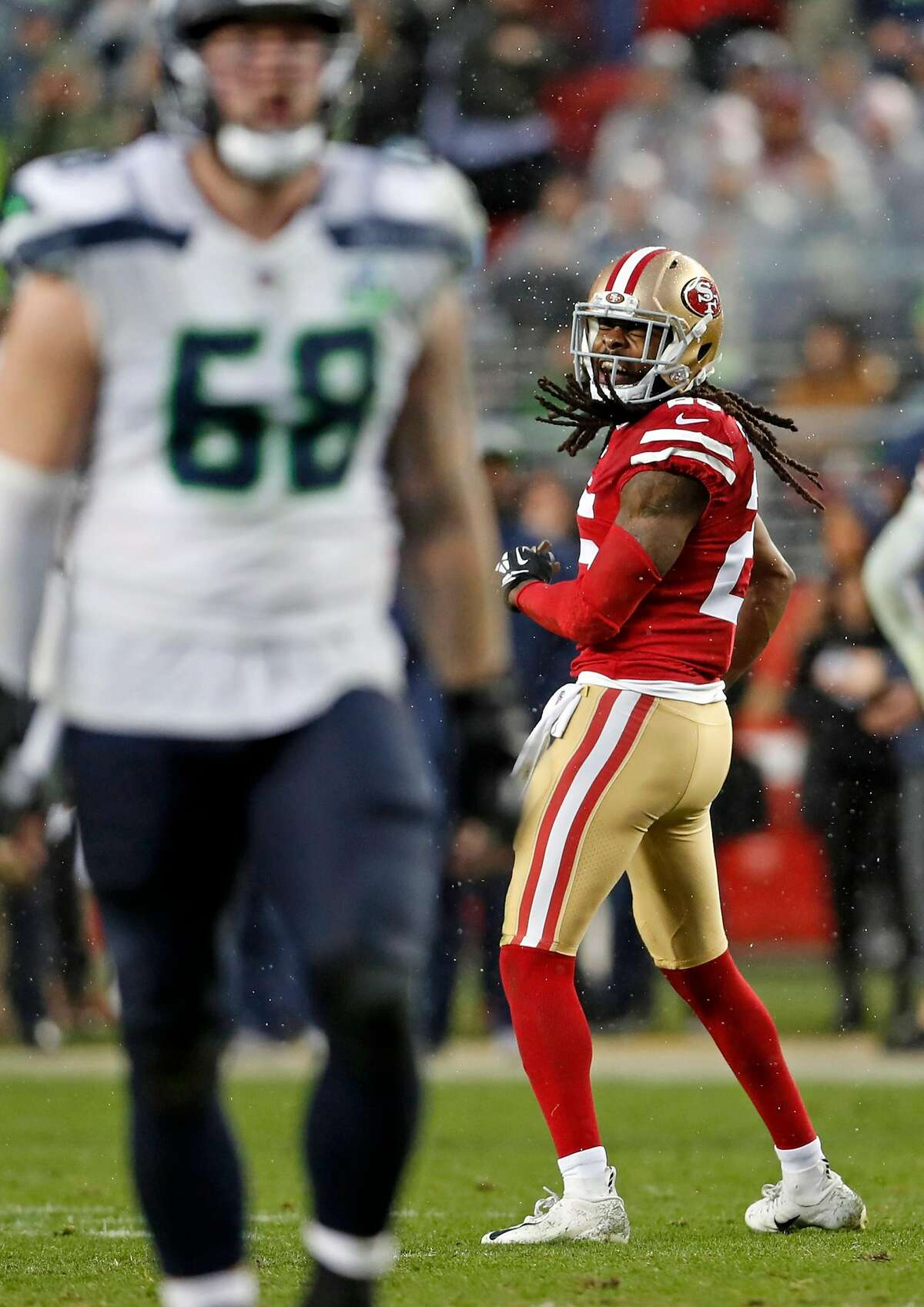 San Francisco 49ers' Richard Sherman enjoys a penalty call on Seattle Seahawks in overtime during Niners' 26-23 win in NFL game at Levi's Stadium in Santa Clara, Calif. on Sunday, December 16, 2018.