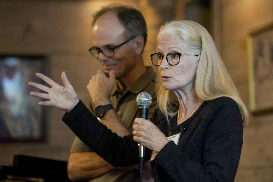 Lynn Morstead speaks during a meeting of a group seeking to develop a CoHousing community on Wednesday, Nov. 7, 2018, in Houston. CoHousing developments is group of homes built around a communal kitchen where people share regularly scheduled meals -- the idea being that the meals are a catalyst for a community in which neighbors help one another with everything from watching children to running errands. Photo: Brett Coomer, Houston Chronicle / Staff Photographer / © 2018 Houston Chronicle