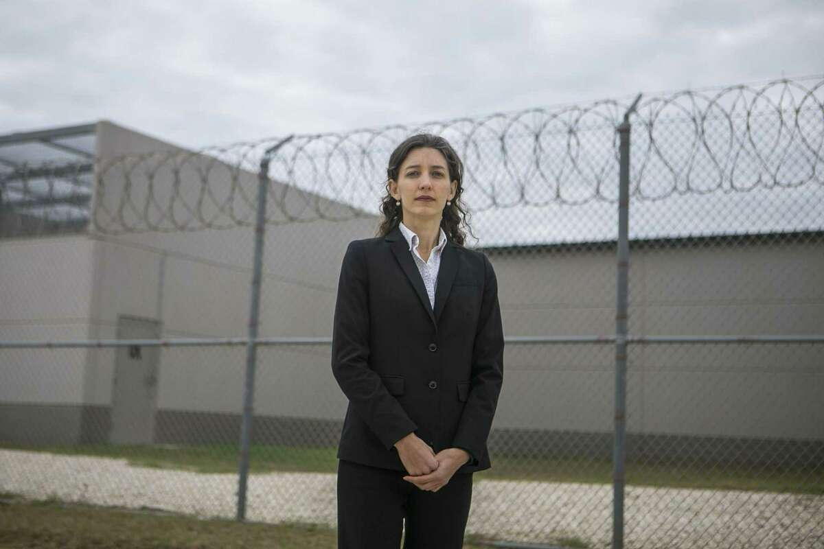 Sara Ramey, executive director of the Migrant Center for Human Rights, stands outside the South Texas Detention Complex in Pearsall, in which she works with detained unauthorized immigrants.