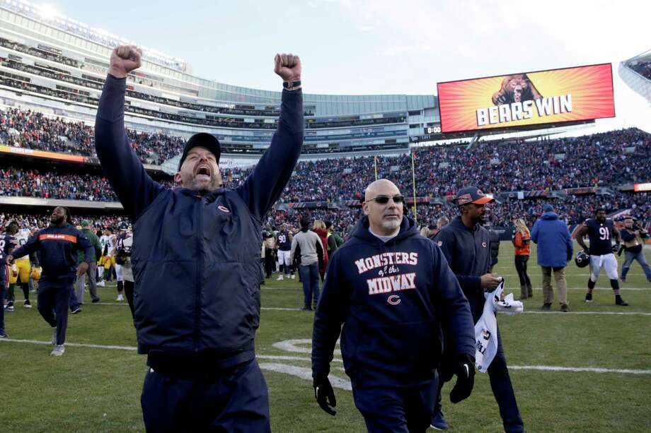Chicago Bears head coach Matt Nagy celebrates after an NFL football game against the Green Bay Packers Sunday, Dec. 16, 2018, in Chicago. The Bears won 24-17. (AP Photo/David Banks) Photo: David Banks / Copyright 2018 The Associated Press. All rights reserved.