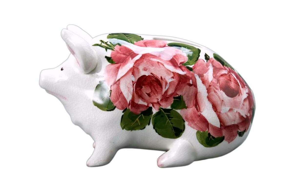 This Wemyss Ware pig is a 4-inch-high bank. It was offered for sale at Michaan's Auctions of Alameda, Calif.