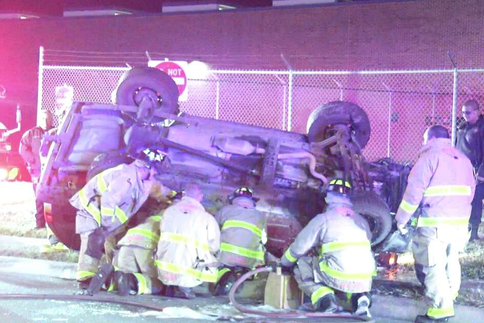 Police say a woman was hospitalized with a broken arm early Monday December 17, 2018 after a rollover crash on the West Side.