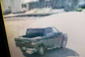 Laredo police said the black or dark four-door F-150 shown in this photo was involved in a hit-and-run incident that left a man and two children injured.