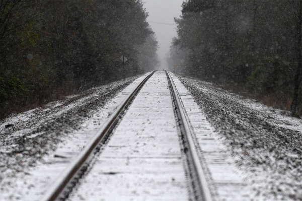 Snow on train tracks near Silsbee on Tuesday. Photo taken Tuesday, January 16, 2017 Guiseppe Barranco/The Enterprise