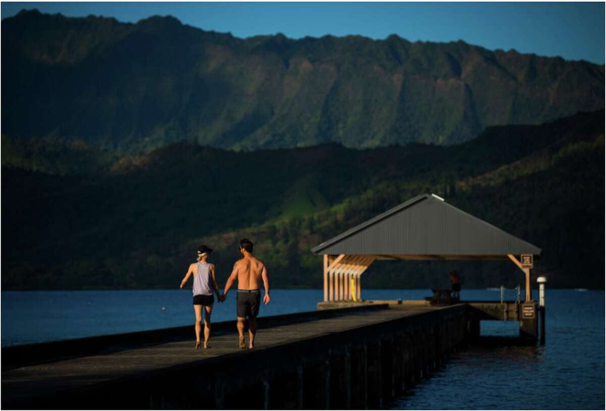 Alaska Airlines flies to Kauai from the Bay Area- Hanalei Bay pictured here