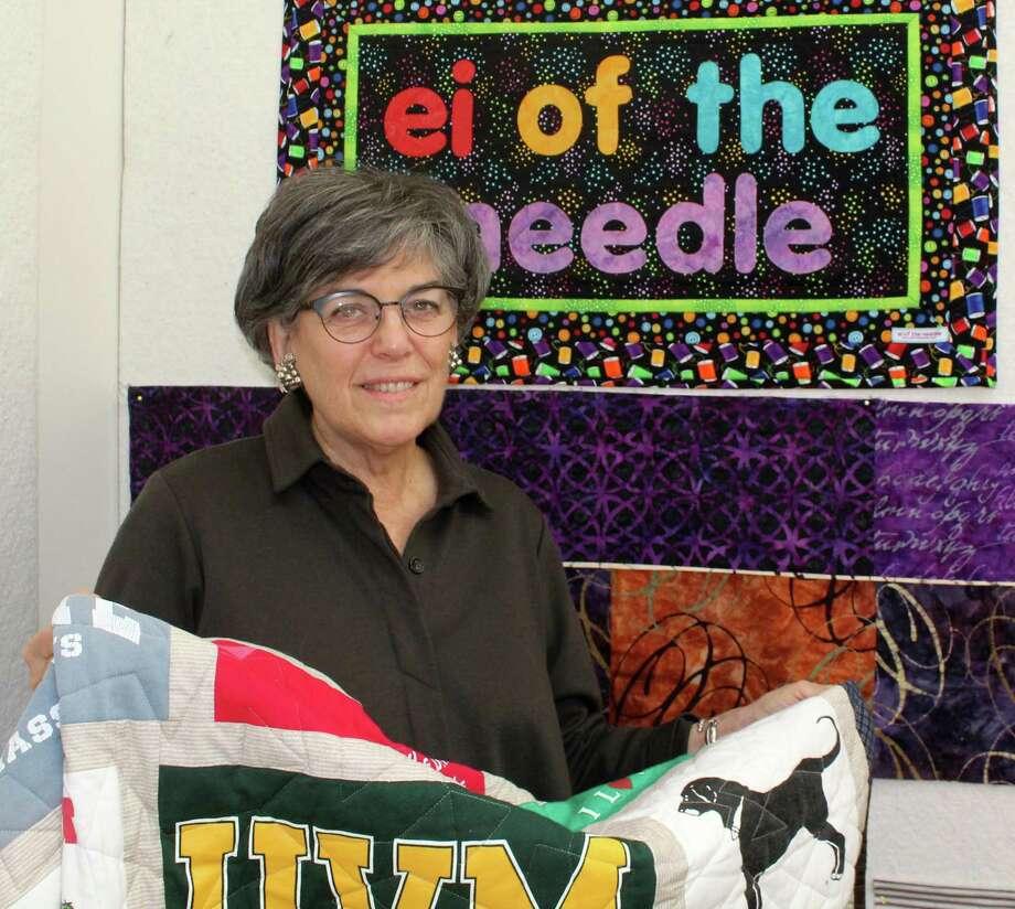 Quilt-maker Eileen Belmont poses in her home workshop in Westport on Monday. Photo: Sophie Vaughan / Hearst Connecticut Media / Westport News