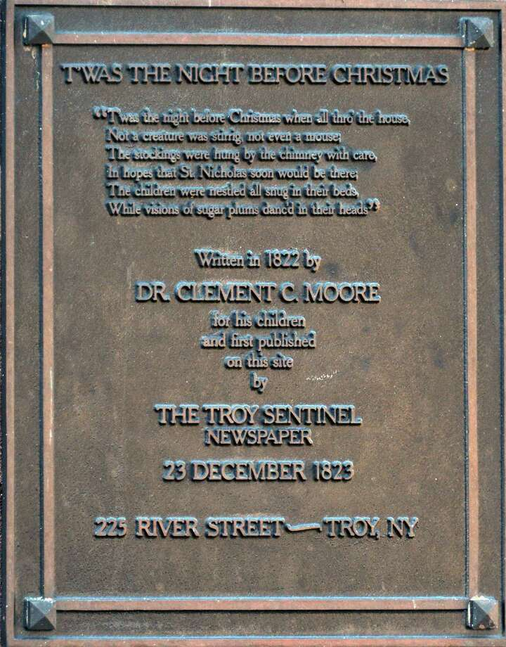 "The historic plaque at 225 River St. in Troy Wednesday Nov. 14, 2012, notes the first publication of the poem ""T'was the Night Before Christmas"" by The Troy Sentinel newspaper in 1823. Photo: John Carl D'Annibale, STAFF PHOTOGRAPHER / Albany Times Union / ONLINE_YES"