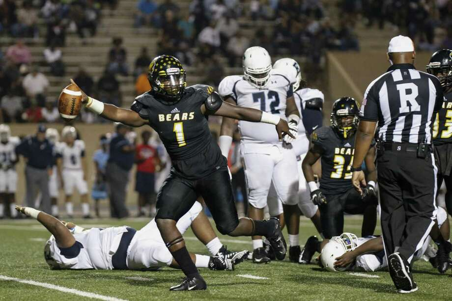 Alief Hastings Bears Jevon Leon #1 reacts after recovering a fumble during the high school football game between the Alief Elsik Rams and the Alief Hastings Bears at Crump Stadium in Houston on Friday, Sept. 28, 2018. The Bears defeated the Rams 51-13. Photo: Tim Warner, Houston Chronicle / Contributor / ©Houston Chronicle