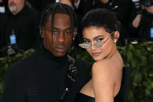 """NEW YORK, NY - MAY 07:  Travis Scott and Kylie Jenner attend """"Heavenly Bodies: Fashion & the Catholic Imagination"""", the 2018 Costume Institute Benefit at Metropolitan Museum of Art on May 7, 2018 in New York City.  (Photo by Taylor Hill/Getty Images)"""